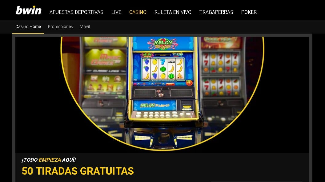 Bwin Casino te ofrece un fabuloso Bono de 50 Tiradas Gratis al realizar tu primer depósito