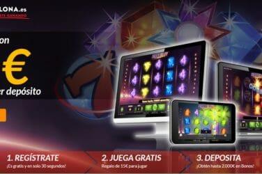 Casino Barcelona brinda, en exclusiva a los usuarios de MáquinasTragaperras.es, 15€ como Bono sin Depósito