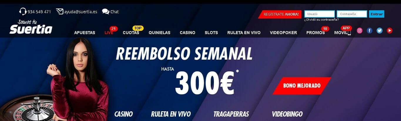 Suertia Casino te ofrece un fabuloso Bono de Reembolso Semanal del 7%, hasta un total de €300 cada semana